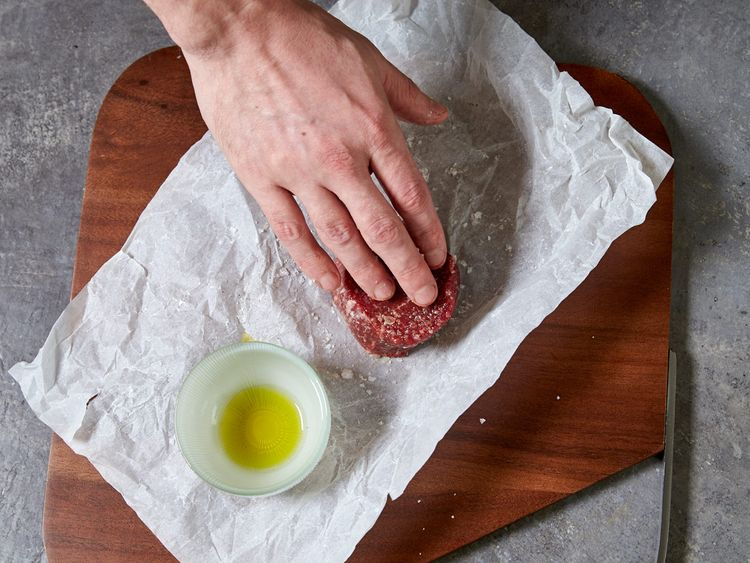 Drizzle oil on the steak