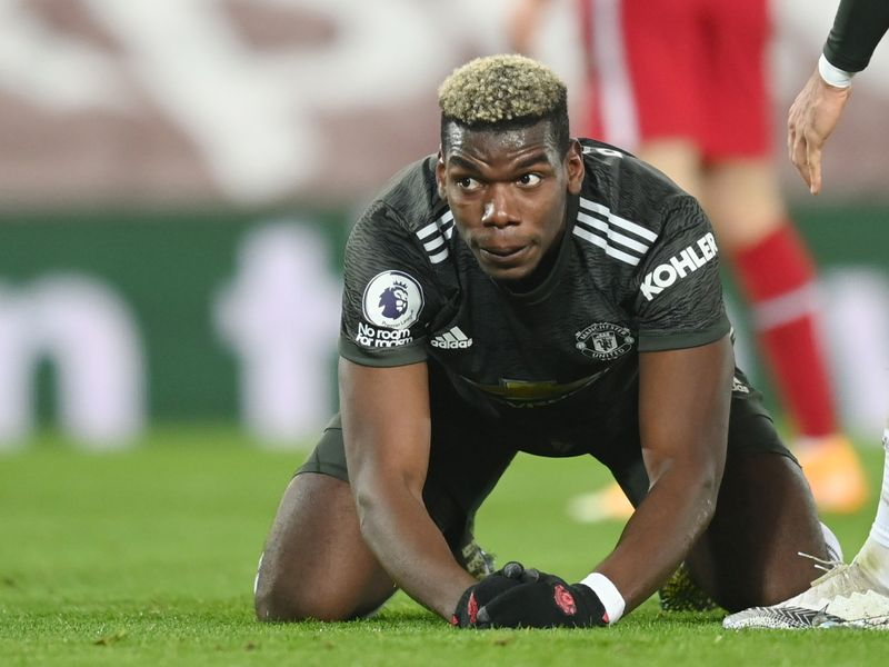 Manchester United's Paul Pogba reacts during match against Liverpool in Anfield.
