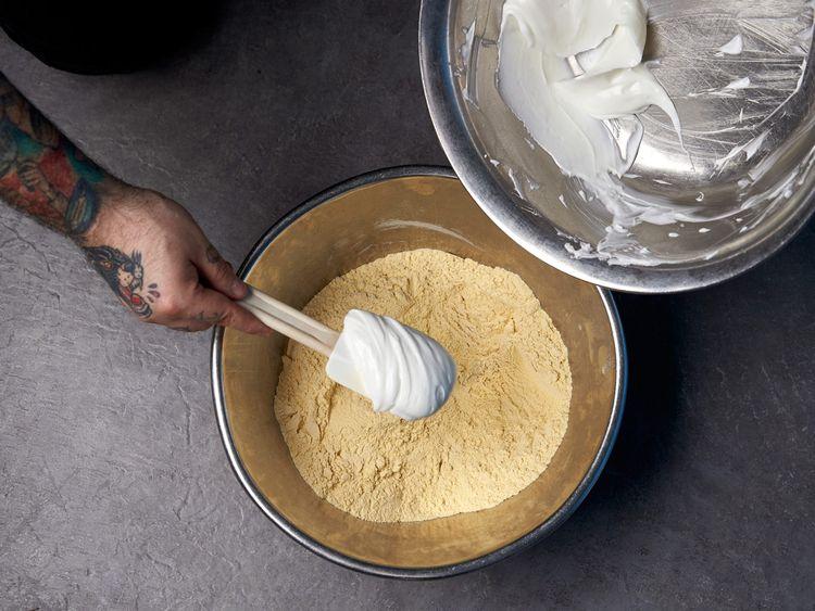 Mix shortening with masa powder