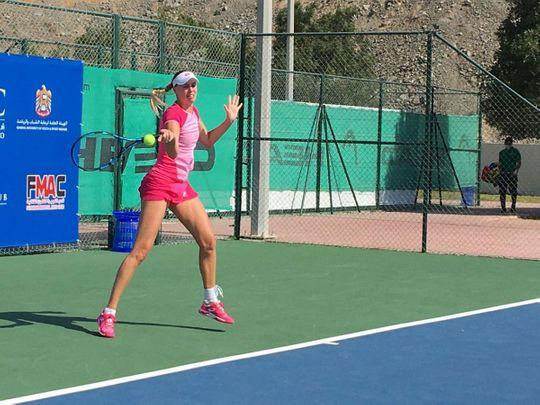 Naomi Broady in action at the Fujaurah International Women Tournament