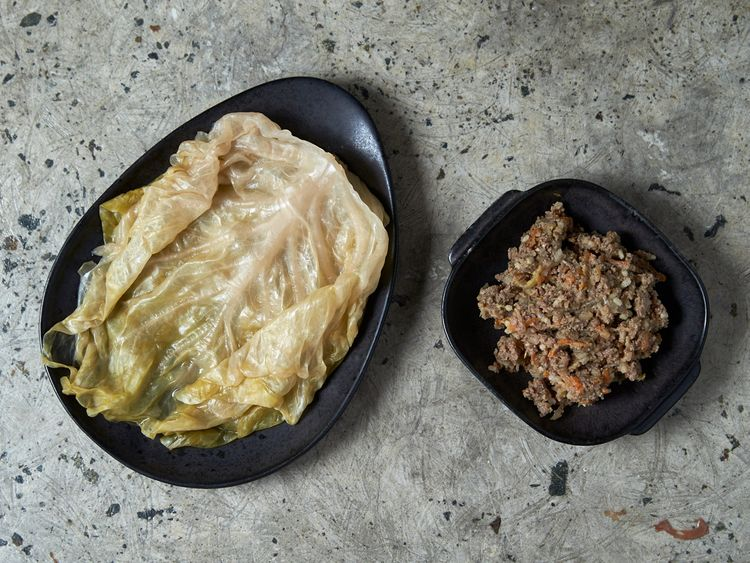 Sarma ingredents: sour cabbage leaves and minced beef