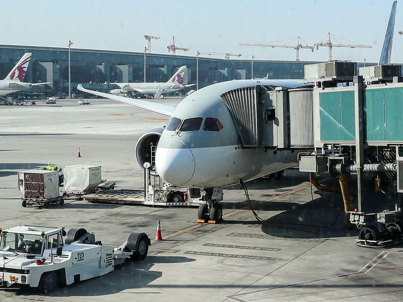 The Qatar Airways aircraft