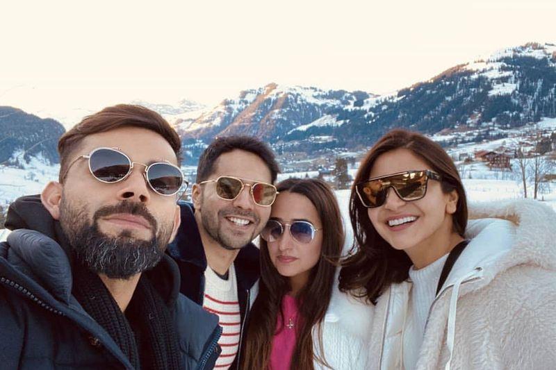 Varun Dhawan, Natasha Dalal, Virat Kohli and Anushka Sharma in Switezerland