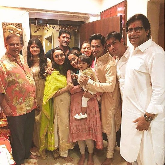 Varun and Natasha posed with his parents David Dhawan and Karuna Dhawan, brother Rohit Dhawan, his wife and little daughter. Also seen were David's brother and veteran actor Anil Dhawan.