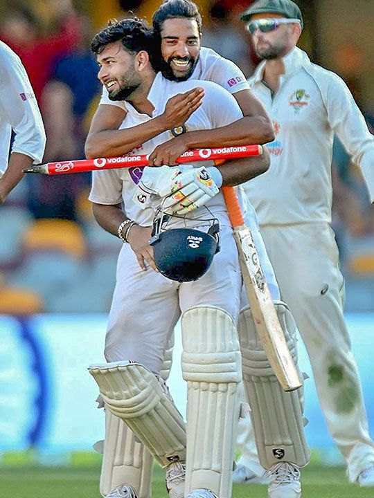 Brisbane: Indian players Shardul Thakur and Mohd Siraj celebrate after defeating Australia by three wickets on the final day of the fourth cricket test match at the Gabba, Brisbane, Australia, Tuesday, Jan. 19, 2021. India won the four test series 2-1.