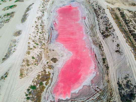 Pink lake in Ras Al Khaimah