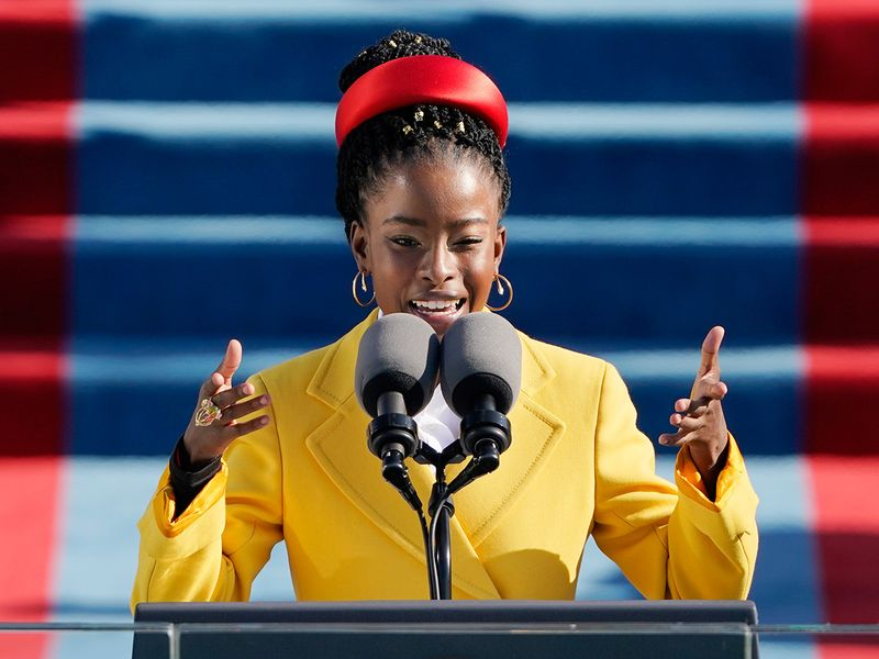 American poet Amanda Gorman reads a poem during the 59th Presidential Inauguration at the US Capitol in Washington.