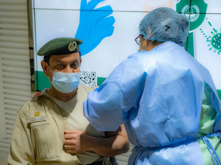 Dubai Police personnel receive COVID-19 vaccine (4)-1611145008479