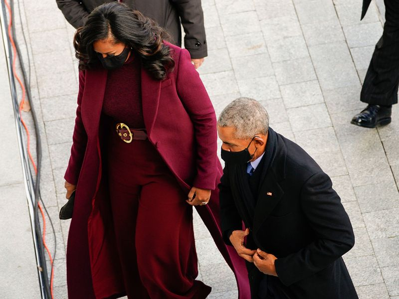 Former President Barack Obama and his wife Michelle arrives at the US Capitol ahead of Biden's inauguration.