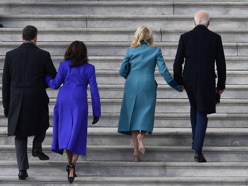 From left: Doug Emhoff, Kamala Harris, Jill Biden, Joe Biden arrive for the inauguration, at the US Capitol in Washington, DC.