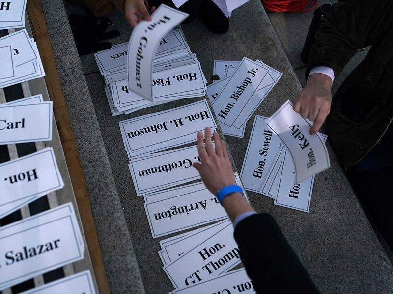 Guest name tags for seating assignments are organized prior to the inaugural ceremony in Washington.