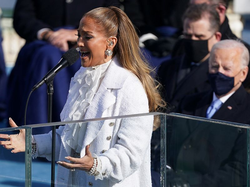 Jennifer Lopez performs during the inauguration of Joe Biden on the West Front of the US Capitol in Washington.
