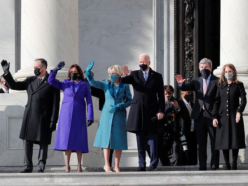 Joe Biden, his wife Jill Biden Kamala Harris, her husband Doug Emhoff, US Senator Roy Blunt (R-MO) and his wife Abigail Blunt arrive ahead of the inauguration, in Washington.