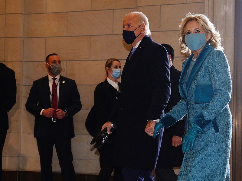 Joe Biden and Dr. Jill Biden arrive for the 59th presidential inauguration in Washington, D.C.