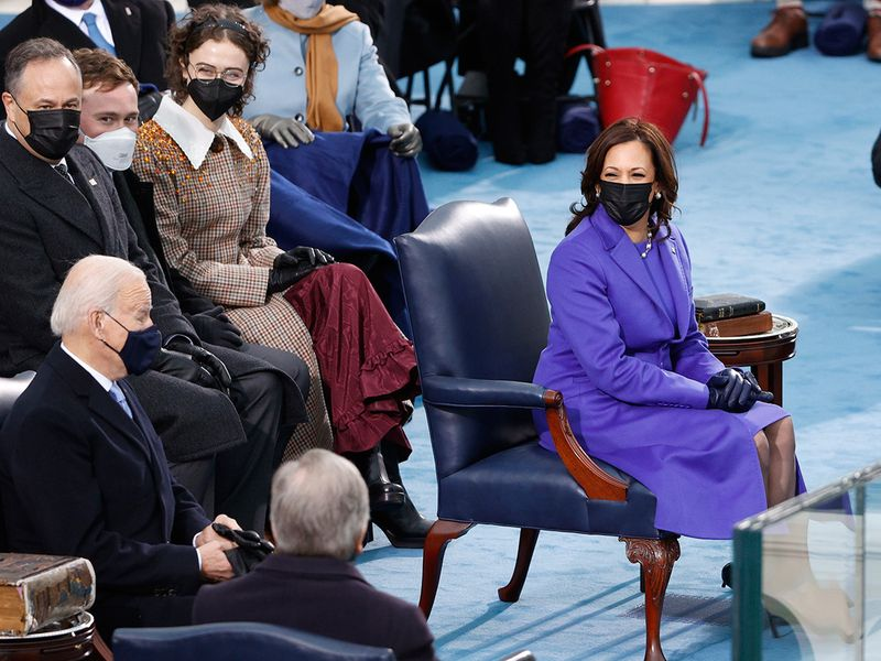 Joe Biden and Kamala Harris during the inauguration on the West Front of the US Capitol.