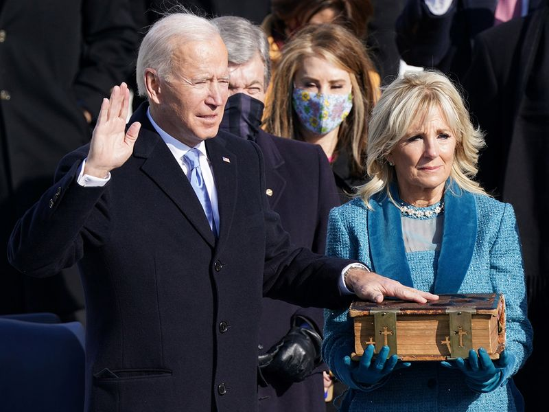 Joe Biden is sworn in as the 46th President of the United States on the West Front of the US Capitol in Washington.