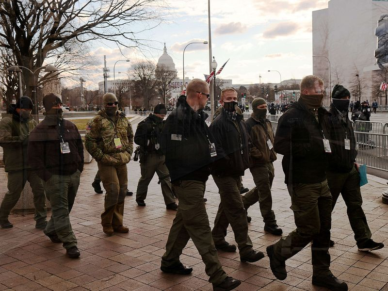 Police officers patrol the area near the US Capitol before the inauguration of President-elect Joe Biden and Vice President-elect Kamala Harris in Washington, DC.