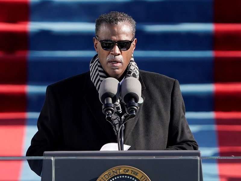 Rev. Silvester Beaman gives the benediction during the 59th Presidential Inauguration at the US Capitol in Washington.