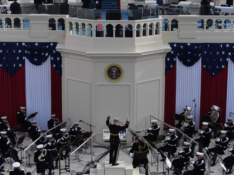 The US Marine band performs before Joe Biden is sworn in as the 46th US President, at the US Capitol in Washington, DC.