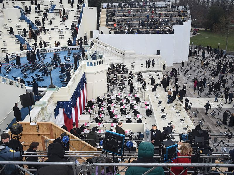 The military band sets up at the US Capitol as preparations are made before the Inauguration in Washington, DC.