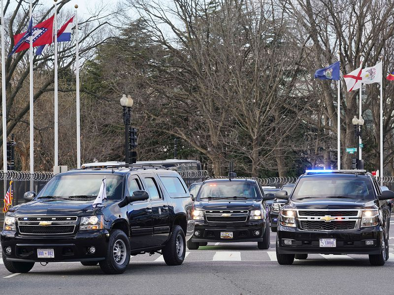 The motorcade of US Vice President Mike Pence arrives at the US Capitol for the inauguration, in Washington, DC.