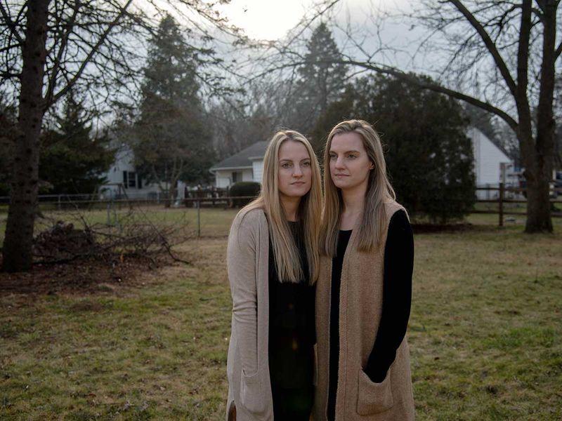 Twins Kasey Miller, left, and Krista Burkett covid