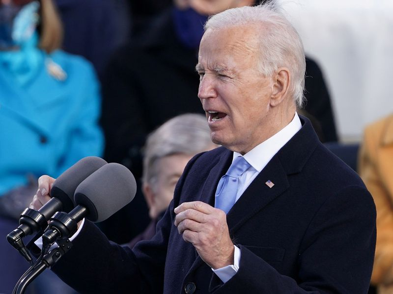 US President Joe Biden speaks during his inauguration as the 46th President of the United States on the West Front of the US Capitol in Washington.