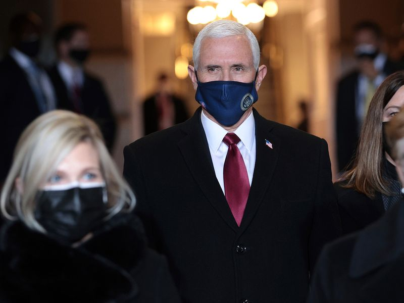 Vice President Mike Pence arrives at the inauguration of Joe Biden on the West Front of the US Capitol.