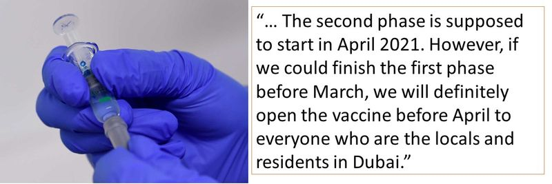 """""""… The second phase is supposed to start in April 2021. However, if we could finish the first phase before March, we will definitely open the vaccine before April to everyone who are the locals and residents in Dubai."""""""