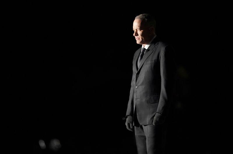 Actor Tom Hanks speaks at the
