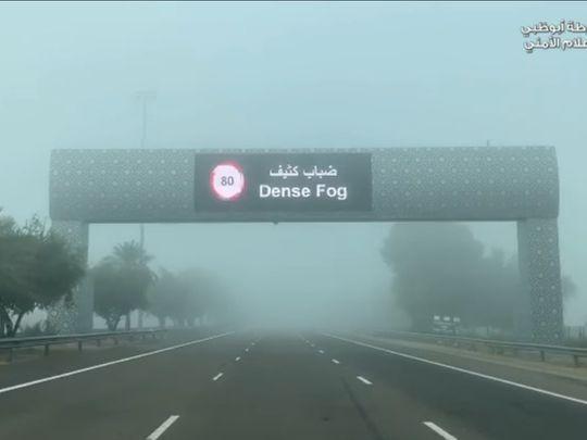 Fog reduced speed limits in Abu Dhabi