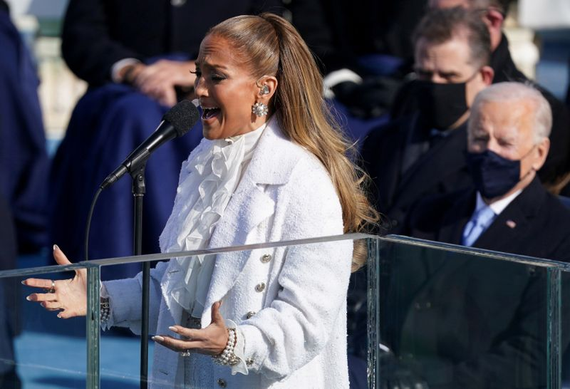 Jennifer Lopez performs during the inauguration of Joe Biden as the 46th President of the United States on the West Front of the U.S. Capitol in Washington, U.S., January 20, 2021. REUTERS/Kevin Lamarque     TPX IMAGES OF THE DAY