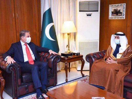 Pakistan's Foreign Minister Shah Mahmood Qureshi and ambassador of the UAE, Hamad Obaid Ibrahim Salem Al Zaabi