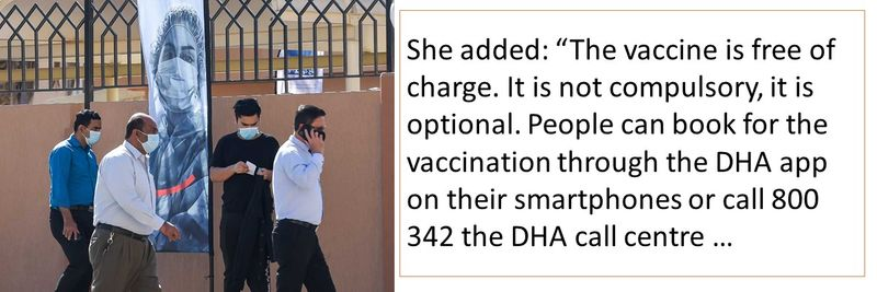 """She added: """"The vaccine is free of charge. It is not compulsory, it is optional. People can book for the vaccination through the DHA app on their smartphones or call 800 342 the DHA call centre …"""