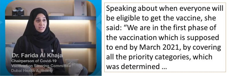 """Speaking about when everyone will be eligible to get the vaccine, she said: """"We are in the first phase of the vaccination which is supposed to end by March 2021, by covering all the priority categories, which was determined …"""