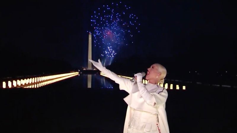 This screen grab courtesy of bideninaugural.org shows singer  Katy Perry perform during the