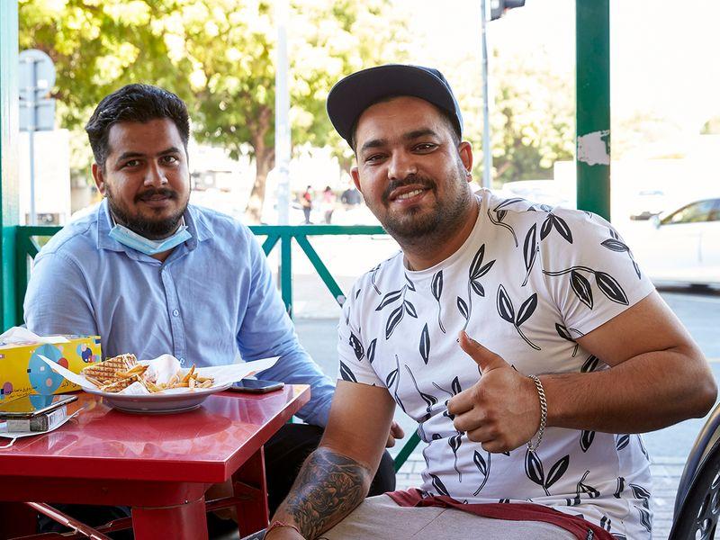 Uber drivers at Al Hara cafe