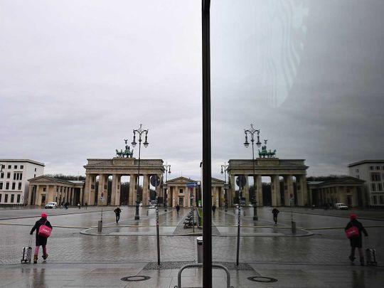 Germany Pariser Platz square in front of Berlin's landmark Brandenburg Gate