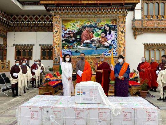 Indian Ambassador Ruchira Kamboj and Bhutan Prime Minister Dr Lotay Tshering vaccine covid