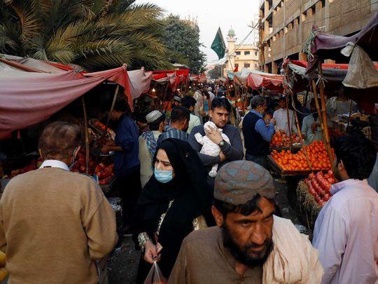 Karachi fruit stalls market Pakistan