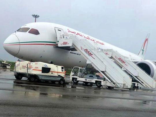 COVID-19 vaccine consignment from India arrives on a Royal Air Maroc flight in Casablanca airport on Friday.