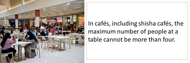 In cafés, including shisha cafés, the maximum number of people at a table cannot be more than four.