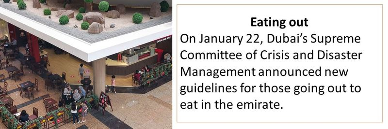 On January 22, Dubai's Supreme Committee of Crisis and Disaster Management announced new guidelines for those going out to eat in the emirate.