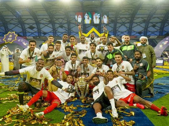 Shabab Al Ahli Dubai celebrate their 1-0 Super Cup win over Sharjah