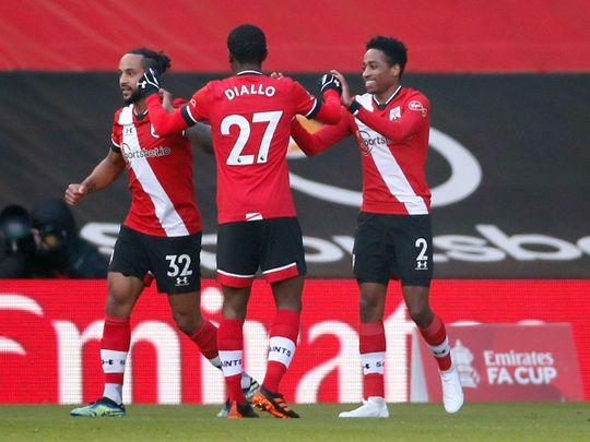 Southampton celebrate the opener against Arsenal