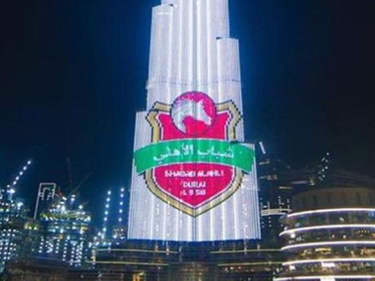 The Burj Khalifa is lit up to congratulate Shabab al Ahli Dubai on winning the Super Cup