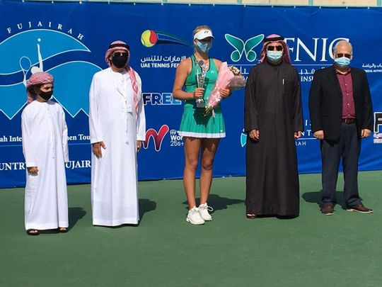 Clara Tauson with the trophy at the presentation for the Fujairah International Women Tournament