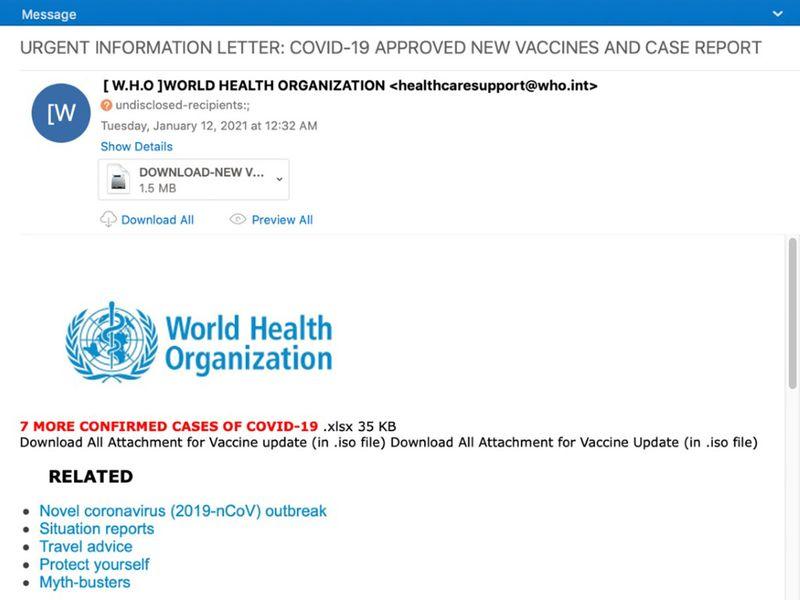 Agent Tesla abuses World Health Organization Brand-1611579192392