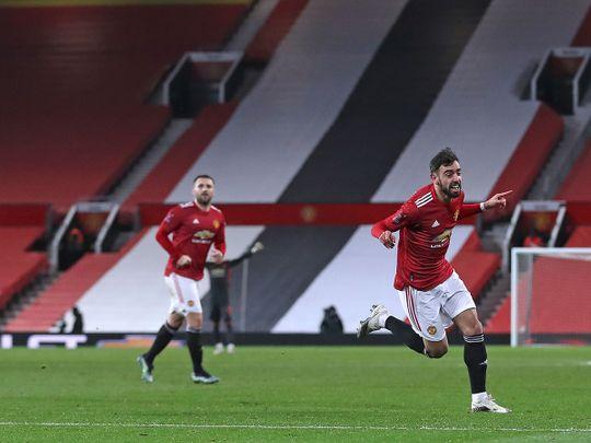 Bruno Fernandes celebrates his winner for Manchester United over Liverpool