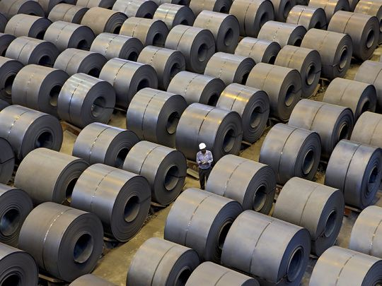 File photo: A view of produced steel coils arranged in rows for inspection at a steel plant, in Jharkhand.